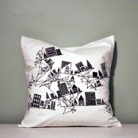 City Founded on Geometry Black and White Cotton by sometimesiswirl