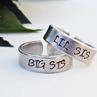 Big Sis Lil Sis Ring - Two Personalized Rings - Big Sister Little Sister Rings - Handstamped Rings - Adjustable Ring - Silver Ring