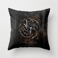 Game of thrones Targaryen clan Silver Chrome Dragon wyvern Throw Pillow by Three Second