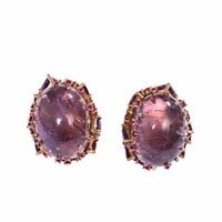 Ruby, rhodolite & amethyst gold earrings