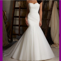 New Sweetheart Pleated Mermaid Bridal Wedding Gown Bride Wedding Dresses sweetheart neckline hand fold