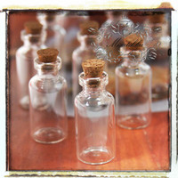 Lot of 20 PCS (40mm x 18mm) 5ml Small Empty Glass Jars Vials Bottles Containers w Corks & Screw Eye Pins- Diy Necklace Charm Craft (SP.L40)