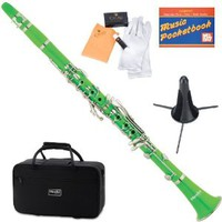 Mendini MCT-G+SD+PB Green ABS B Flat Clarinet with Case, Stand, Pocketbook, Mouthpiece, 10 Reeds and More