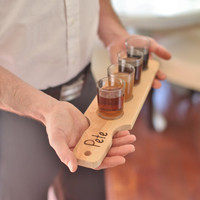 Personalized Shot Glass Paddle Gift For Him Rustic Living (Item Number 140153) NEW ITEM