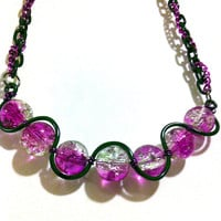 Purple and clear crackle glass squiggle necklace ,fade,ombre fun jewelry gifts for her