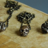 Anatomical Skull Bead Necklace in Antiqued Brass by Father Panik.