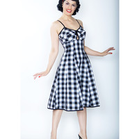 1950s Style Black & White Gingham Bullet Swing Dress
