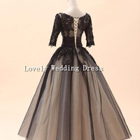 Jewel Long Sleeve Ball Gown Black Tulle Lace Organza Long Dress Bridesmaid Dress Homecoming Dress Prom Dress Party Dress Wedding Dress