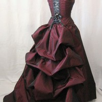 Red bustle gown steampunk wedding gown red wedding gown | TheSecretBoutique - Wedding on ArtFire