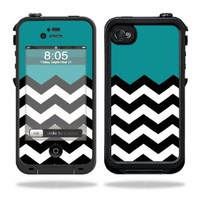 Protective Vinyl Skin Decal Cover for LifeProof iPhone 4 / 4S Case Sticker Skins Teal Chevron