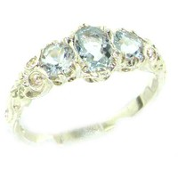 Ladies Solid 14K White Gold Natural Aquamarine English Victorian Trilogy Ring - Finger Sizes 5 to 12 Available - Perfect Gift for Birthday, Christmas, Valentines Day, Mothers Day, Mom, Grandmother, Daughter, Graduation, Bridesmaid.