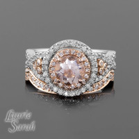 Morganite Rose Gold Engagement Ring and Wedding Band Set with Diamond Double Halo, Twisted Shank and Contoured Diamond Wedding Band - LS2243