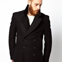 ASOS Peacoat In Black