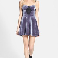 Topshop Lace Detail Velvet Skater Dress | Nordstrom