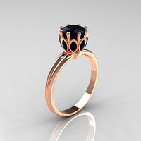 Modern Antique 14K Pink Gold Marquise and 1.0 CT Round Black Diamond Solitaire Ring R90-14KPGBDD