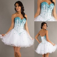 Stock mini Beaded Short Mini Party Dress Homecoming Prom Party Cocktail Dress
