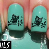 Startled owl Nail Decals by YRNails