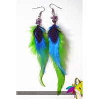 Lime Turquoise and Purple Feather Earrings by NeonFoxBoutique