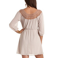 CROCHET NECK CHIFFON DRESS