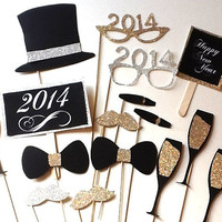 New Years Eve Photobooth Props, 2014 glitter Photo Props, 2014 photo props, Christmas Props, New Year's Eve, New Years Eve propsp