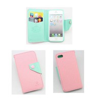 piaopiao colorful style leather flip wallet credit card hard case cover for Iphone 4 4g 4s (pink/mint green)