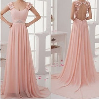 prom dress pink - long prom dress / Backless formal dress / strapless evening dress / long party dress / Long Evening Dress/ gown