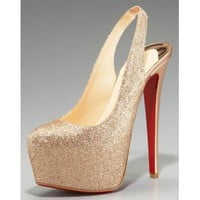 Christian Louboutin Dafsling Glittered Platform Pump