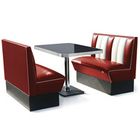Hollywood Booth Dining Set Ruby