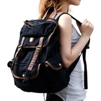 BUG Multi-function Canvas Backpack/ Practical Rucksack /Leisure Rucksack/ Unisex Backpack - 8 Colors (Black)