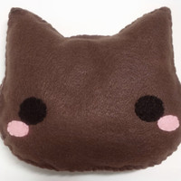 Brown Cat Plush Pillow, Plush Stuffed Animal Pillow, Home Decor, Gift for her Gift under 20, Kawaii Cushion Dorm Decor Nursery Decor