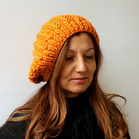 Women's Knit Hat Winter Hat Slouchy Beanie Hat - Orange Beret / Chunky / Beret /Baggy / Beanie