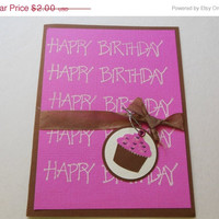 ON SALE Cupcake Birthday Card in Pink or Blue