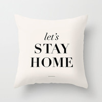 "Typography Pillow ""Let's Stay Home"" Bedroom Living Room Home Decor"