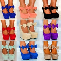 LADIES WOMENS SUEDE BOW CORAL PINK SUMMER PLATFORM WEDGES HIGH HEELS SHOES 3-8