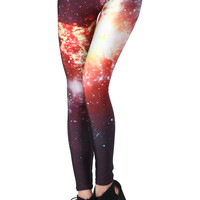 ROMWE | ROMWE Burning Fire Print Leggings, The Latest Street Fashion