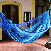 Hand-woven Large Deluxe Blue Caribbean Hammock (Mexico)