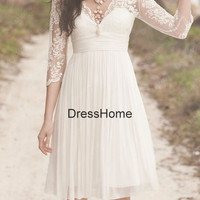 Sleeve Lace Bridesmaid Dress - Lace Bridesmaid Dress / Lace Prom Dress / Prom Dress Lace / Cheap Prom Dresses . White Party Dress