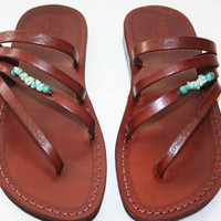 Brown Decor Rainbow Leather Sandals | SANDALI - Clothing on ArtFire