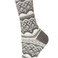 Grey Aztec Ankle Socks