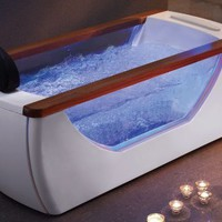 EAGO AM195 6-Feet Right Drain Rectangular Free Standing Whirlpool Bath Tub with TV Screen