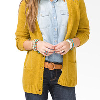 Wool-Blend Metal Button Cardigan