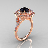 Classic Soleste 14K Rose Gold 1.0 Ct Black Diamond Ring R236-14RGDBD