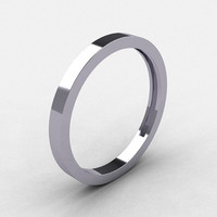 Modern Bridal 10K White Gold Wedding Band R186B-10KWG