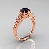 Classic French 18K Rose Gold 1.0 Carat Black Diamond Lace Ring R175-18KRGDBD