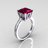 Modern Italian 10K White Gold 2.0 Carat Princess Rhodolite Garnet Channel Diamond Solitaire Ring R312-10KWGRGD
