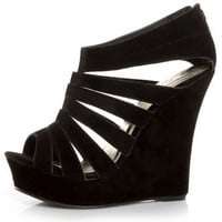 Yoki Alyson Black Velvety Platform Cage Wedges - &amp;#36;37.00
