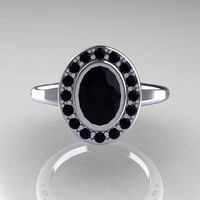 Classic Italian 14K White Gold Oval Black and White Diamond Engagement Ring R195-14KWGDBD