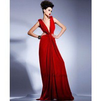 A-Line V-Neck Floor-Length Chiffon Prom Dress SAL1037