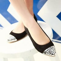 Starry Metal Cap Toe Suede Flats from Pop and Shop