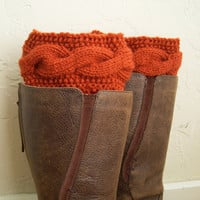 SALE 10% OFF Orange legwarmers - orange cable knit boot toppers - legwarmers - winter 2014